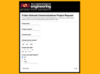 mini view of communications project request form