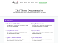mini view of Divi documentation page