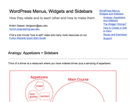 mini view of WordPress Menus, Widgets and Sidebars doc